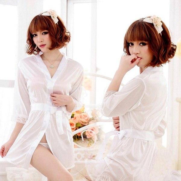 Sexy Woman Lingerie Lace Temptation Nightgown Sleepwear Robes Pajamas + Belt AU