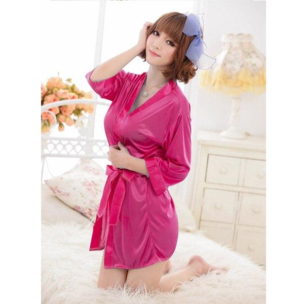 Womens Sexy Kimono Ice silk Bathrobe Dressing Gown Sleepwear Lingerie + G-string