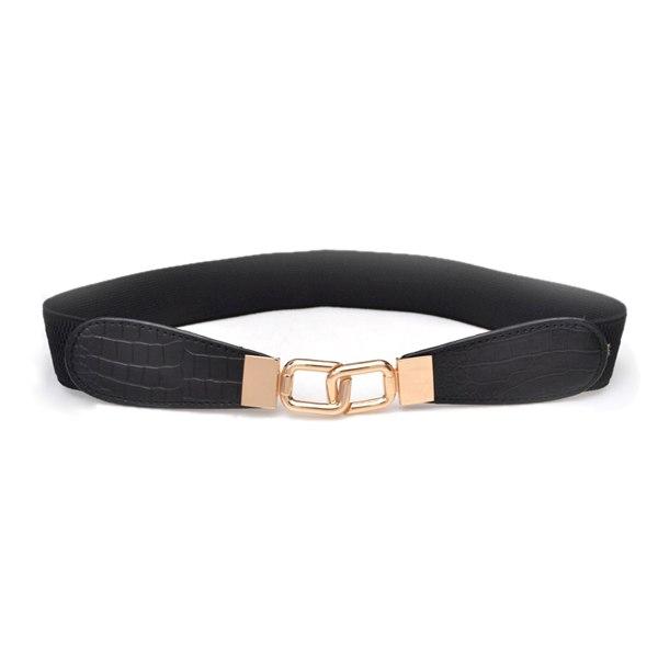 fashion metal gold buckle elastic stretch waist pu