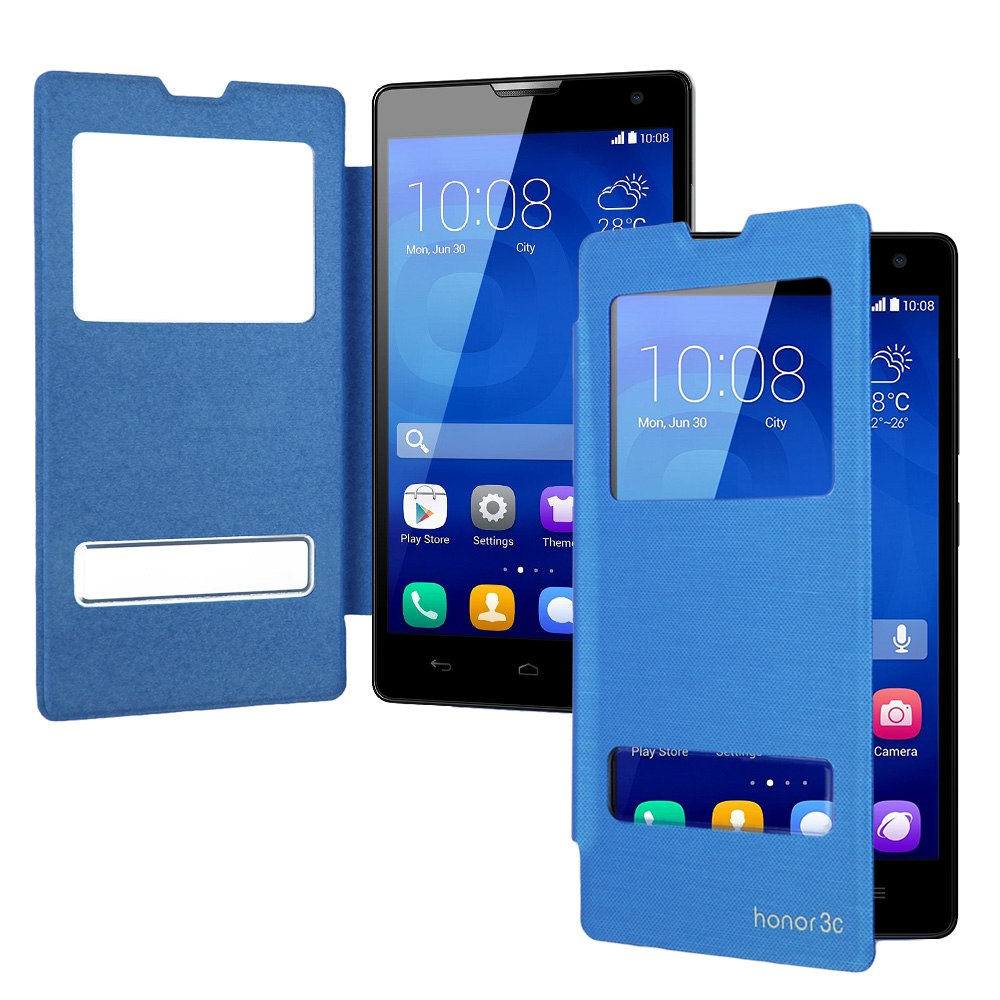 For Huawei Honor 3C Folio New Flip Leather Back Battery Cover Dual Window Case
