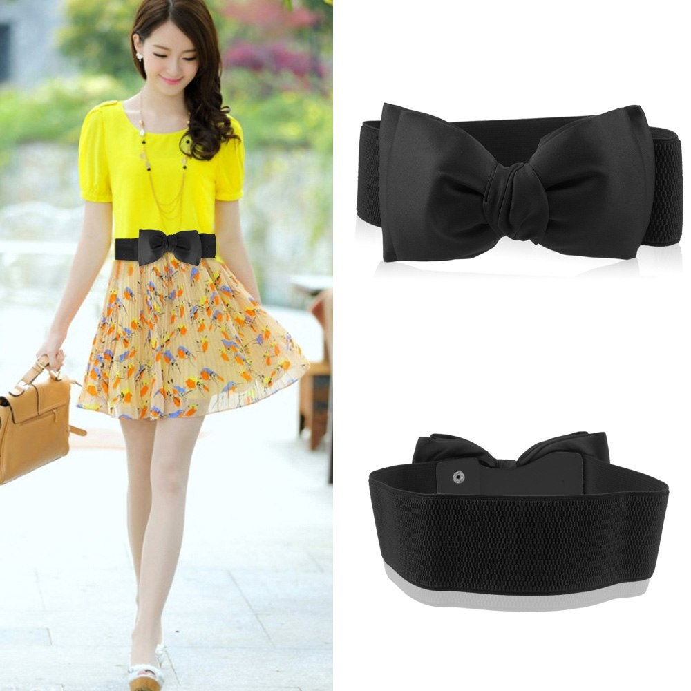 ceinture noeud papillon large elastique boucle extensible waist belt femme mode ebay. Black Bedroom Furniture Sets. Home Design Ideas
