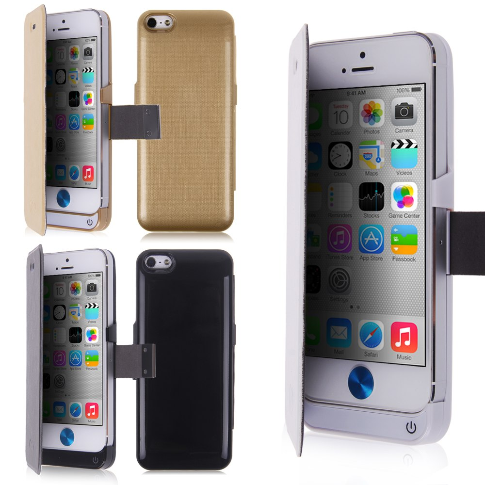 External Power Bank Charger Flip Leather Case Battery Cover For iPhone 5 5S 5C | eBay