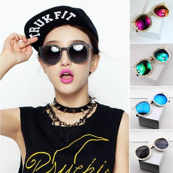 Mirrored Round Sunglasses  hollow metal round vintage women mirrored lens sunglasses glasses