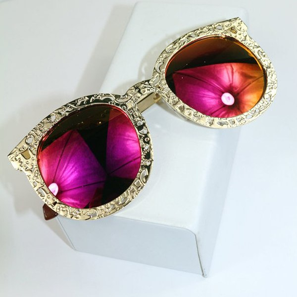 Fashion Hollow Out Carved Metal Frame Mirrored Cat Eye Sunglasses Eyewear New