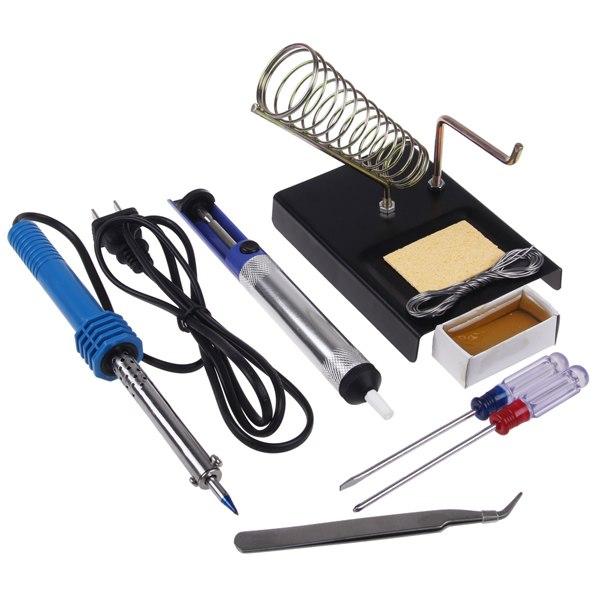 9in1 60w diy electric solder starter tool kit set with iron stand desolder pump ebay. Black Bedroom Furniture Sets. Home Design Ideas
