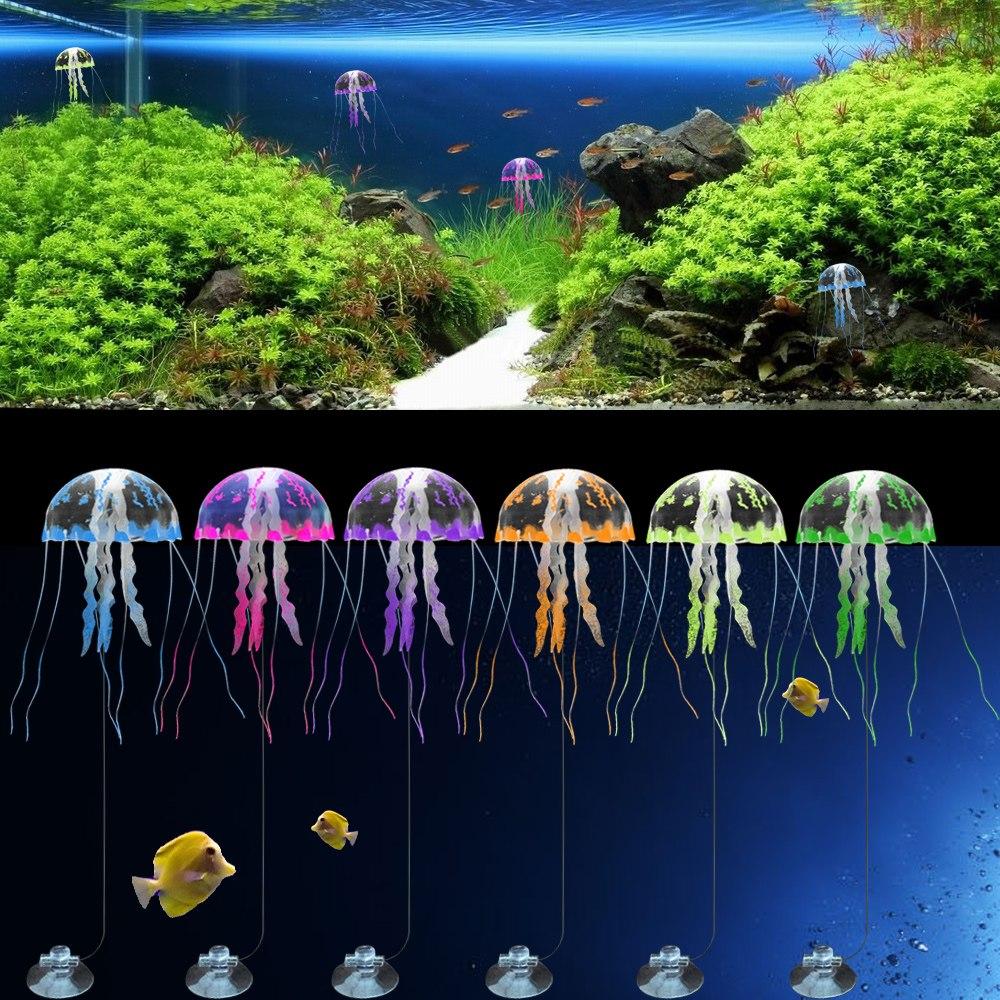 5 5 glowing effect fish tank decoration aquarium for Aquarium jellyfish decoration
