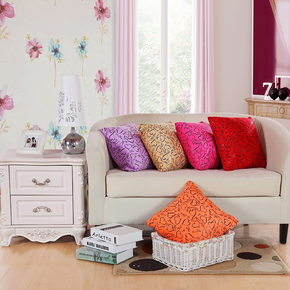 Fashion love heart decor pillow case cushion cover bed for Bed love decoration