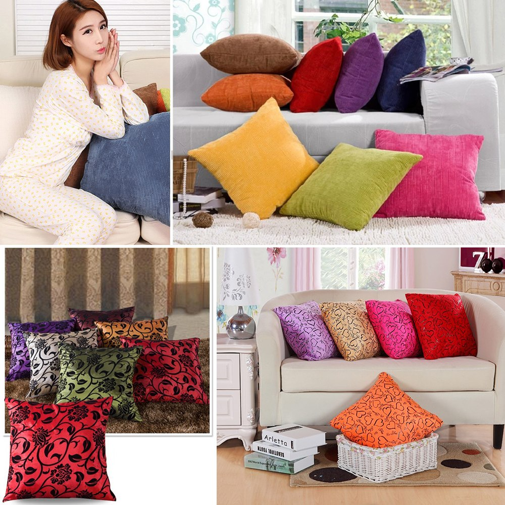 housse de coussin taie d 39 oreiller canap lit fleur coeur maison cushion cover ebay. Black Bedroom Furniture Sets. Home Design Ideas