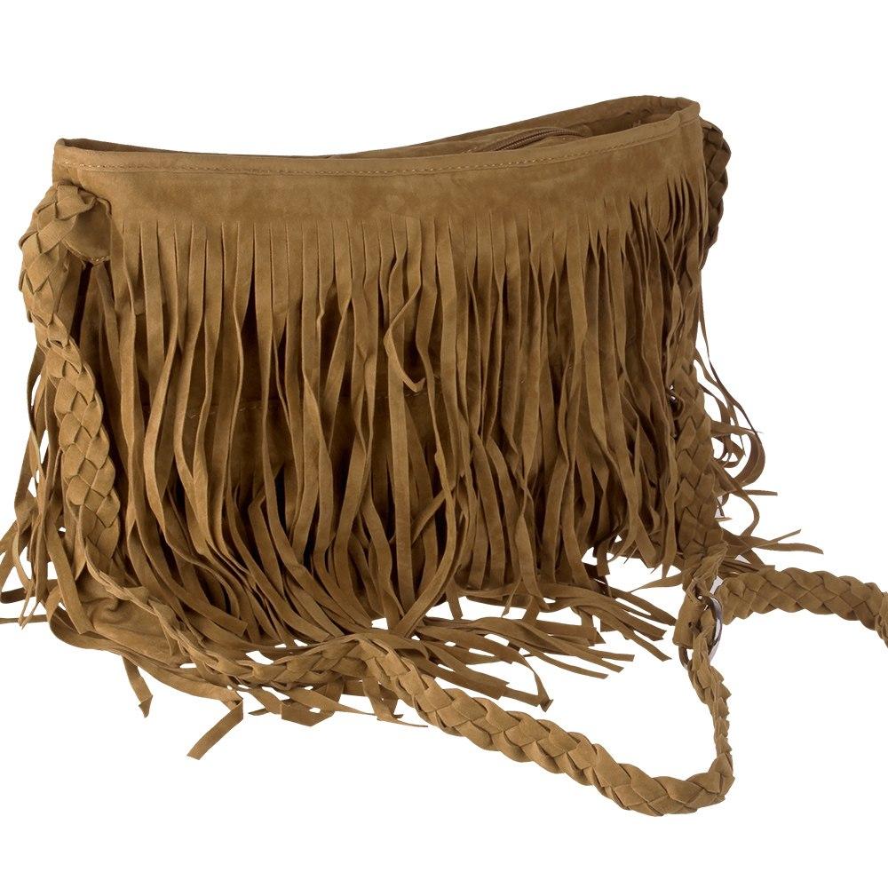 Boho Vintage Retro Faux Suede X Body Tassel Fringe Messenger Hand Shoulder Bag