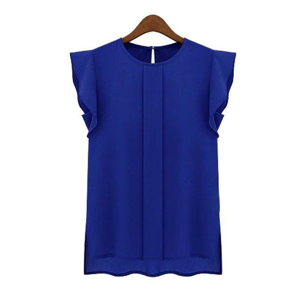 Womens Chiffon Round Neck Ruffle Short Sleeve Solid Loose Shirt Blouse Tops HOT!