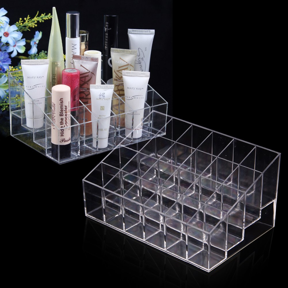 clear acrylic 24 lipstick holder display stand cosmetic organizer makeup case ebay. Black Bedroom Furniture Sets. Home Design Ideas