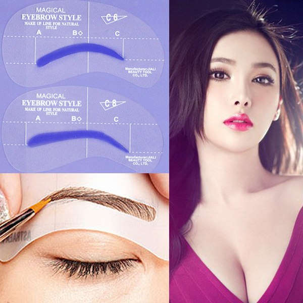 Beauty Grooming Style: 4 Styles Grooming Stencil Kit Shaping DIY Beauty Eyebrow