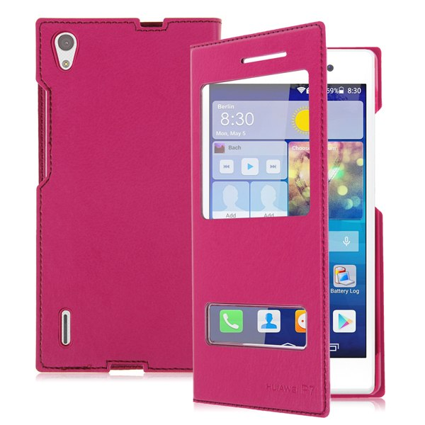 Fashion Dual Window View Folio PU Leather Back Case Cover for Huawei Ascend P7