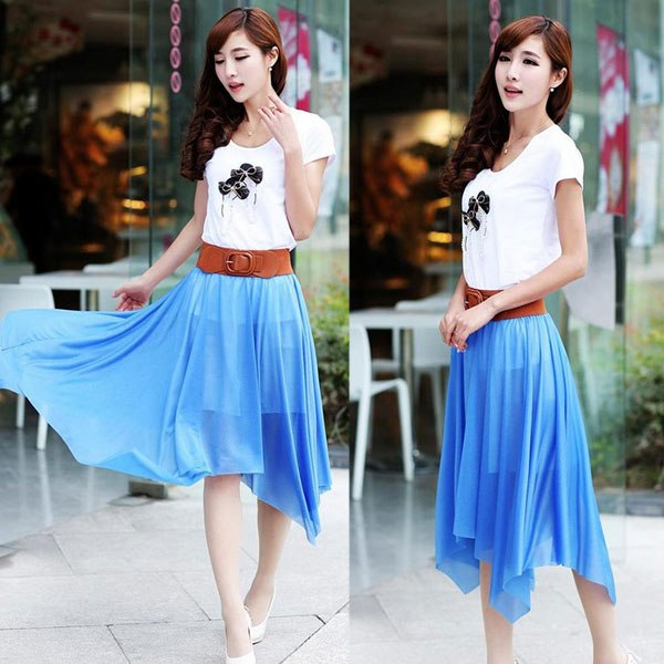 Fashion-Lady-Summer-Sheer-Chiffon-Pleated-Long-Dress-Elastic-Waist-Cropped-Skirt