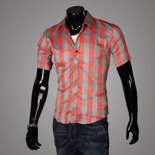 Men's Luxury Short Sleeve Casual Slim Fit Stylish Dress Shirt ...
