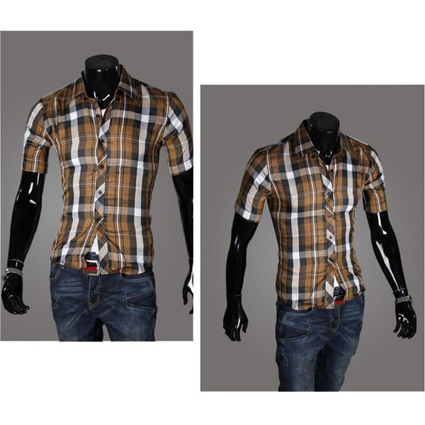 Fashion Mens Casual Slim Fit Plaid Casual Shirt Stand Collar Short Sleeve TOP