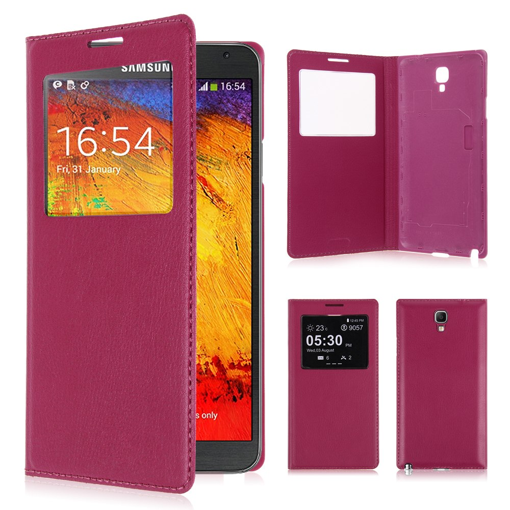 Battery Housing Leather Flip View Cover Case for Samsung Galaxy Note 3 Neo N7505