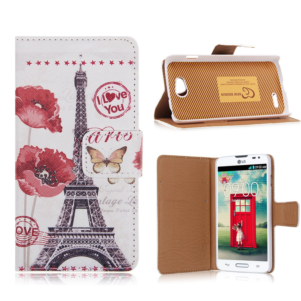 Printed PU Leather Flip Card Wallet Pouch Case Stand Cover for LG Optimus L90