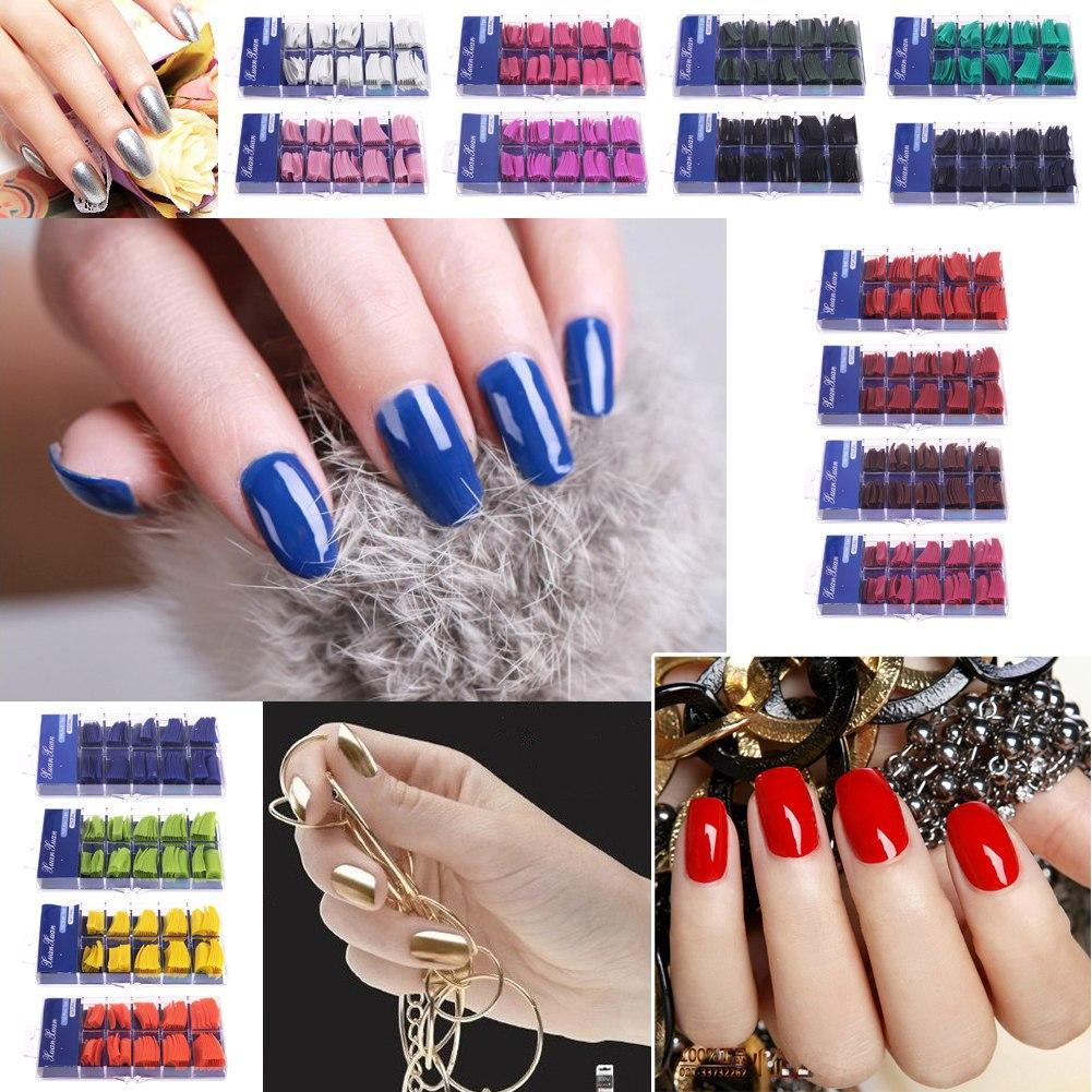 Artificial Nail Tips: 100 False Fake Nails Acrylic Nail Tips Glue MakeUp Gel