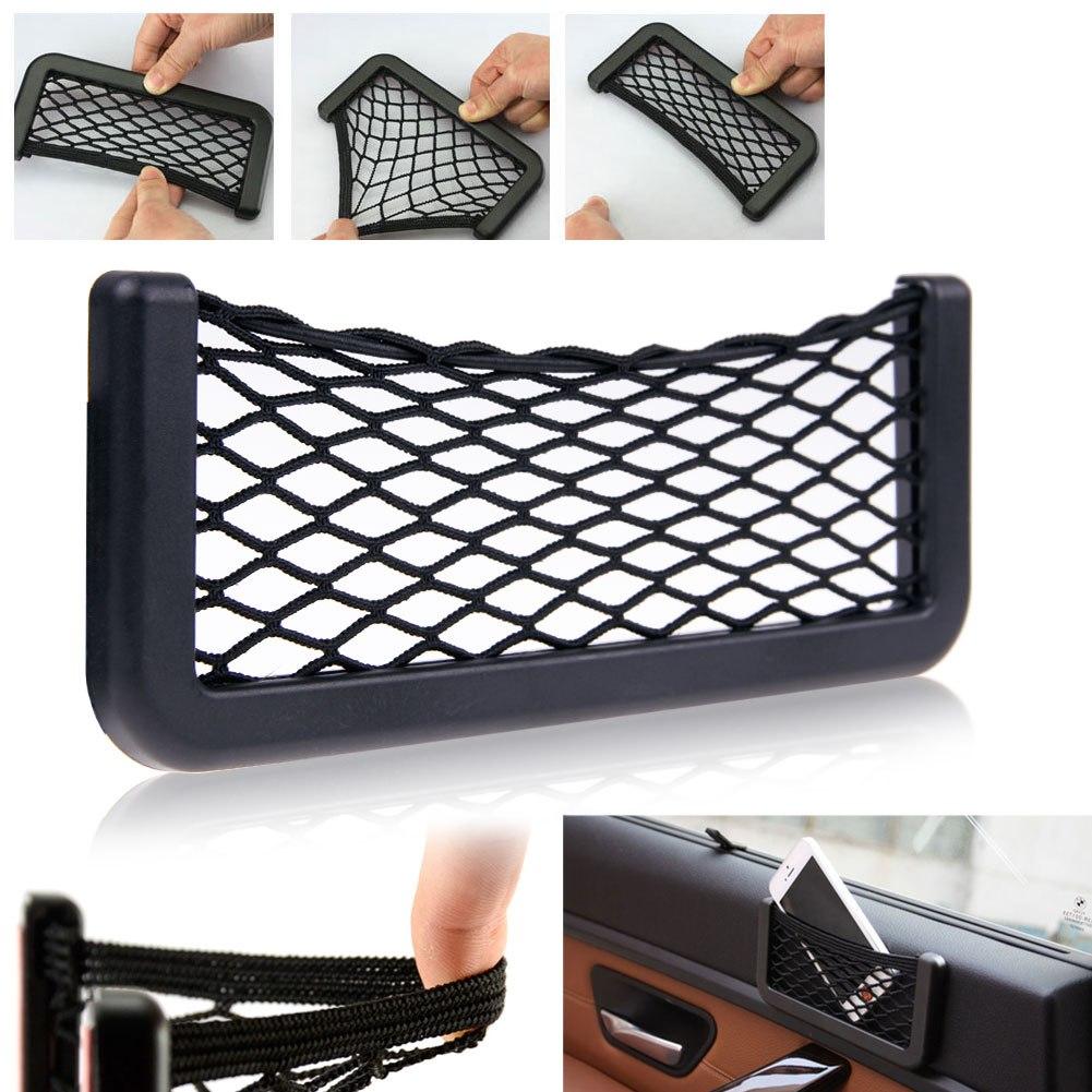 Universal Adhesive Car Seat Back Storage Net Bag Phone