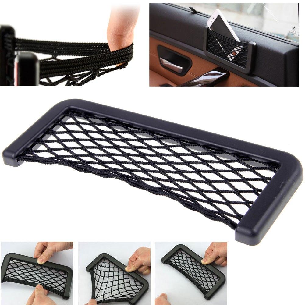 universal adhesive car seat back storage net bag phone holder pocket organizer ebay. Black Bedroom Furniture Sets. Home Design Ideas