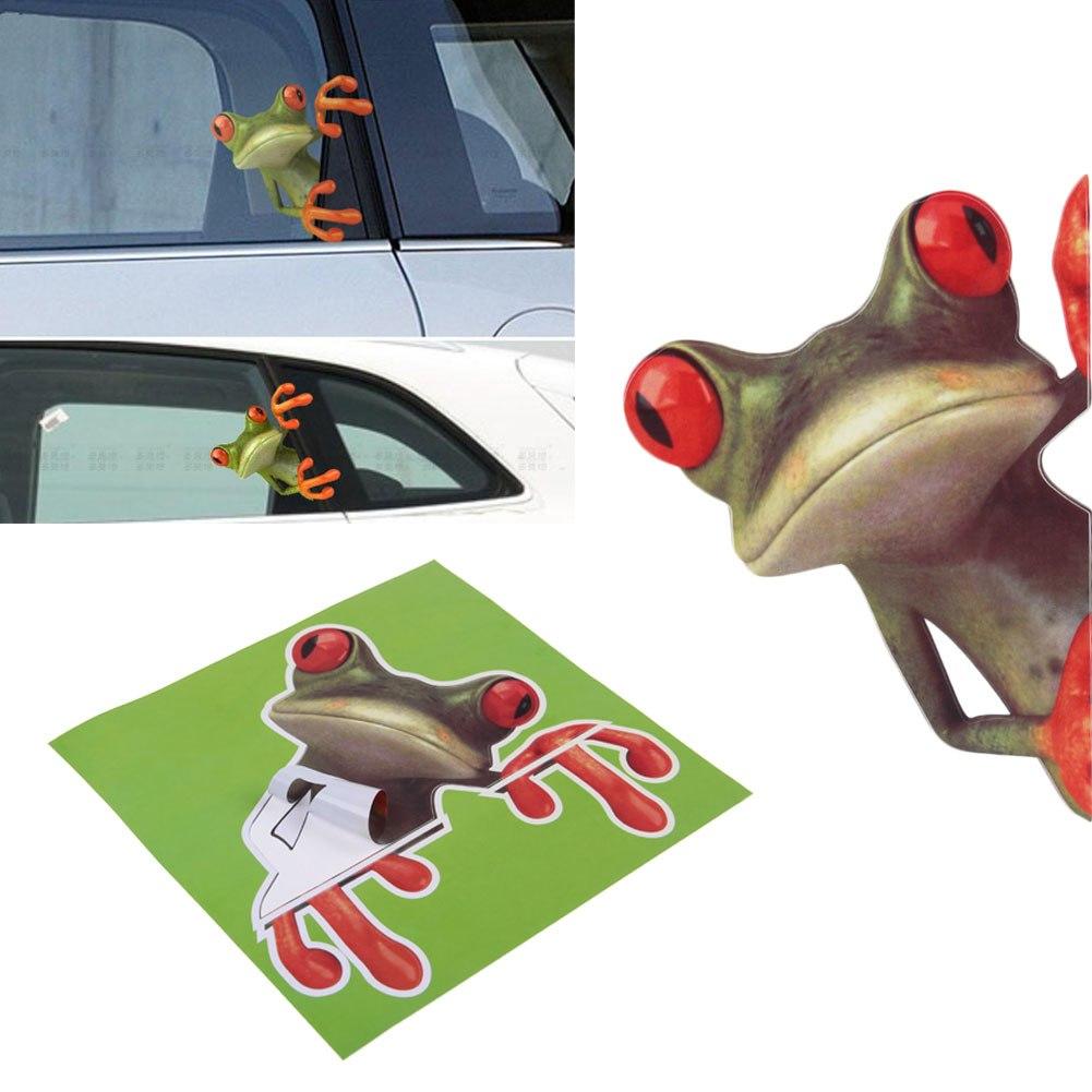 HOT Funny Cute Green Stick D Frog Car Stickers Truck Window Vinyl - Truck door decals   online purchasing