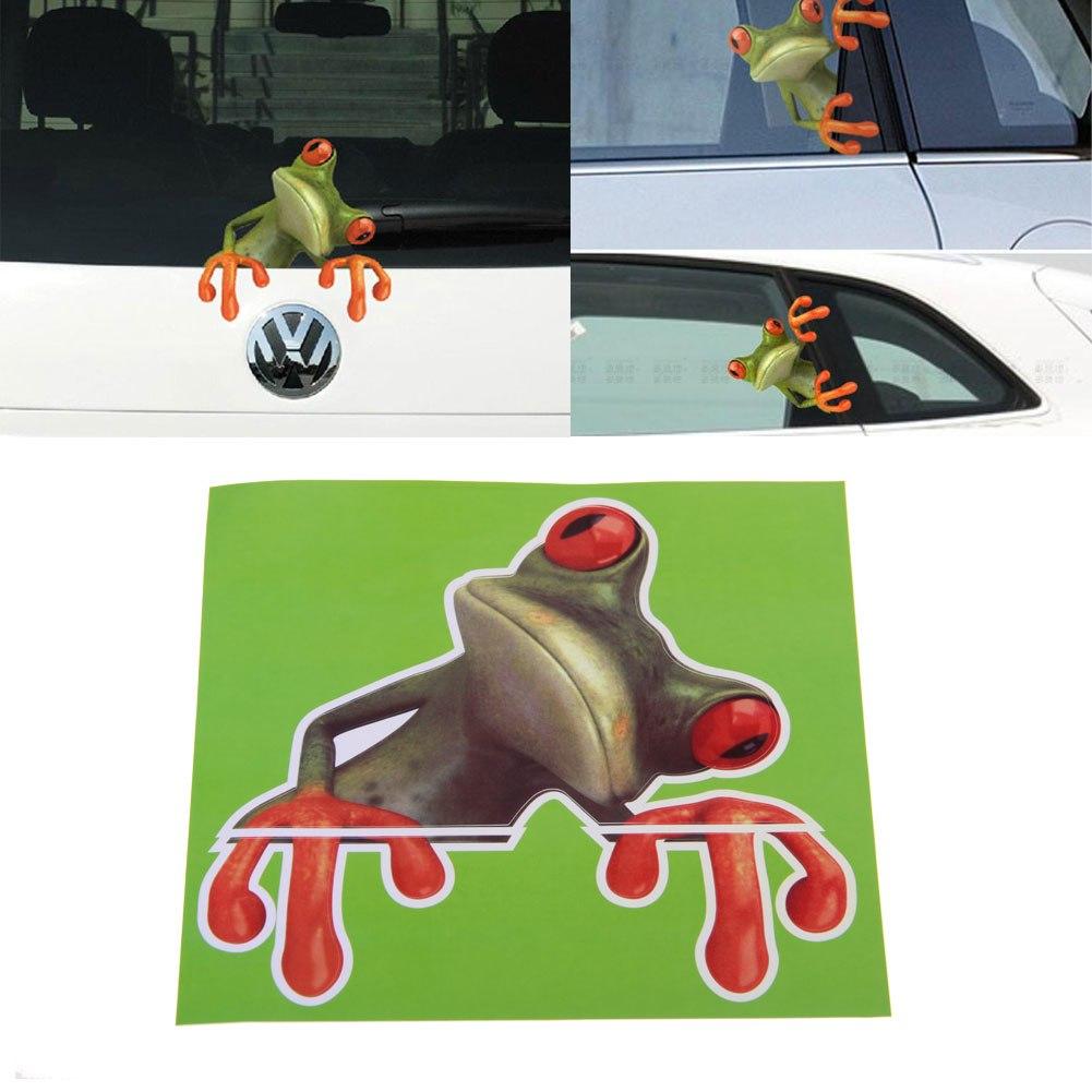 Funny Cute Green 3d Frog Car Stickers Truck Window Door