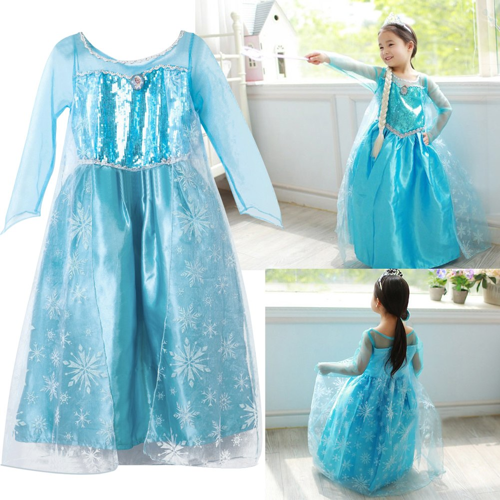 robe d guisement costume la reine des neiges frozen elsa anna enfant fille neuf ebay. Black Bedroom Furniture Sets. Home Design Ideas