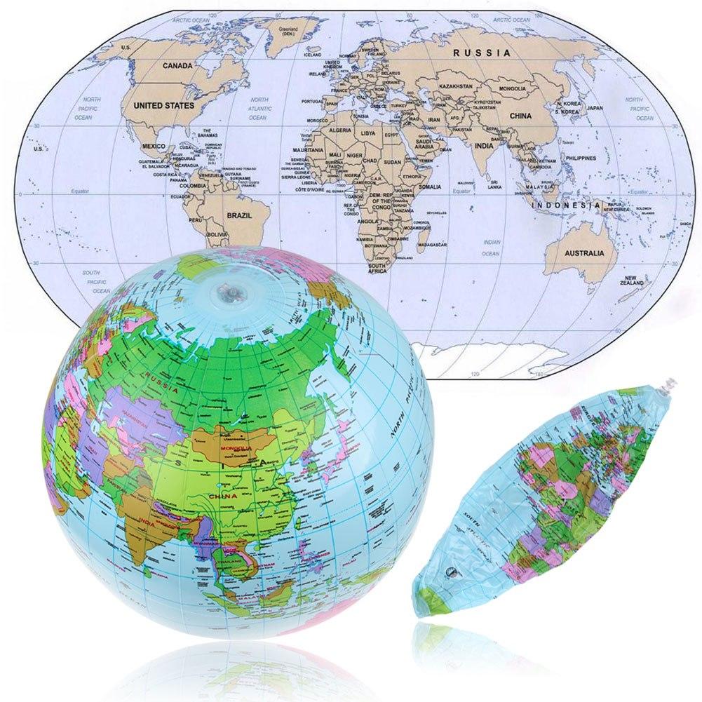 Cm Inflatable Earth World Globe Map Beach Ball Educational - Us globe map
