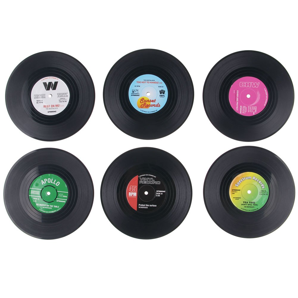6 stk vinyl schallplatten glasuntersetzer set untersetzer bierdeckel retro musik ebay. Black Bedroom Furniture Sets. Home Design Ideas