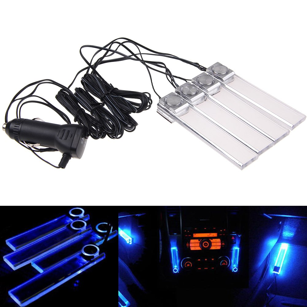 blue colorful car decorative lights charge 4 led interior floor decoration lamp ebay. Black Bedroom Furniture Sets. Home Design Ideas