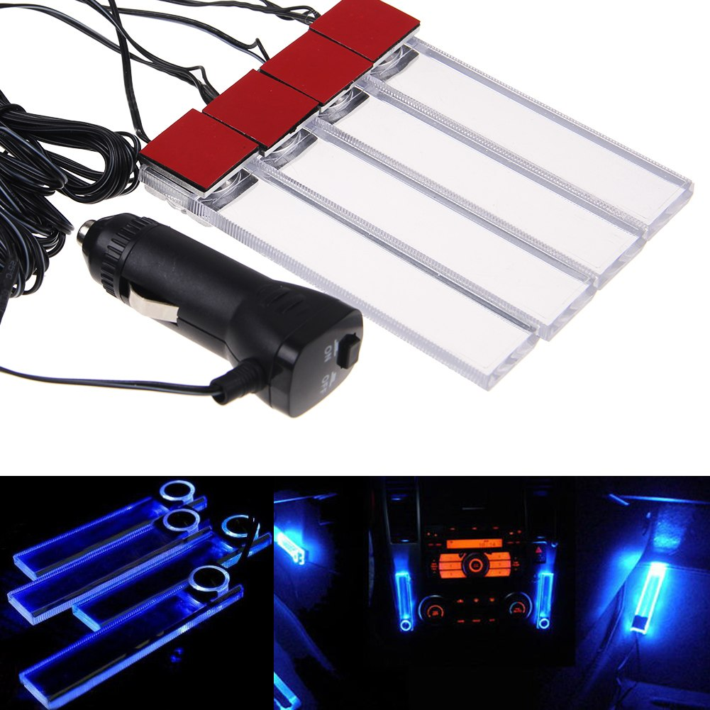 4 led car interior decoration floor decorative light blue car cigarette lighter ebay for Led car interior lights ebay