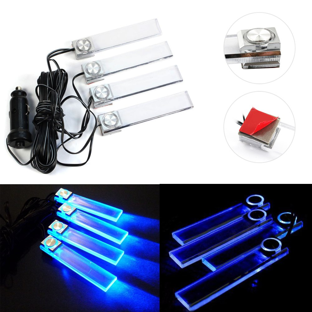 4pcs led car interior under dash decorative floor light blue cigarette lamp. Black Bedroom Furniture Sets. Home Design Ideas