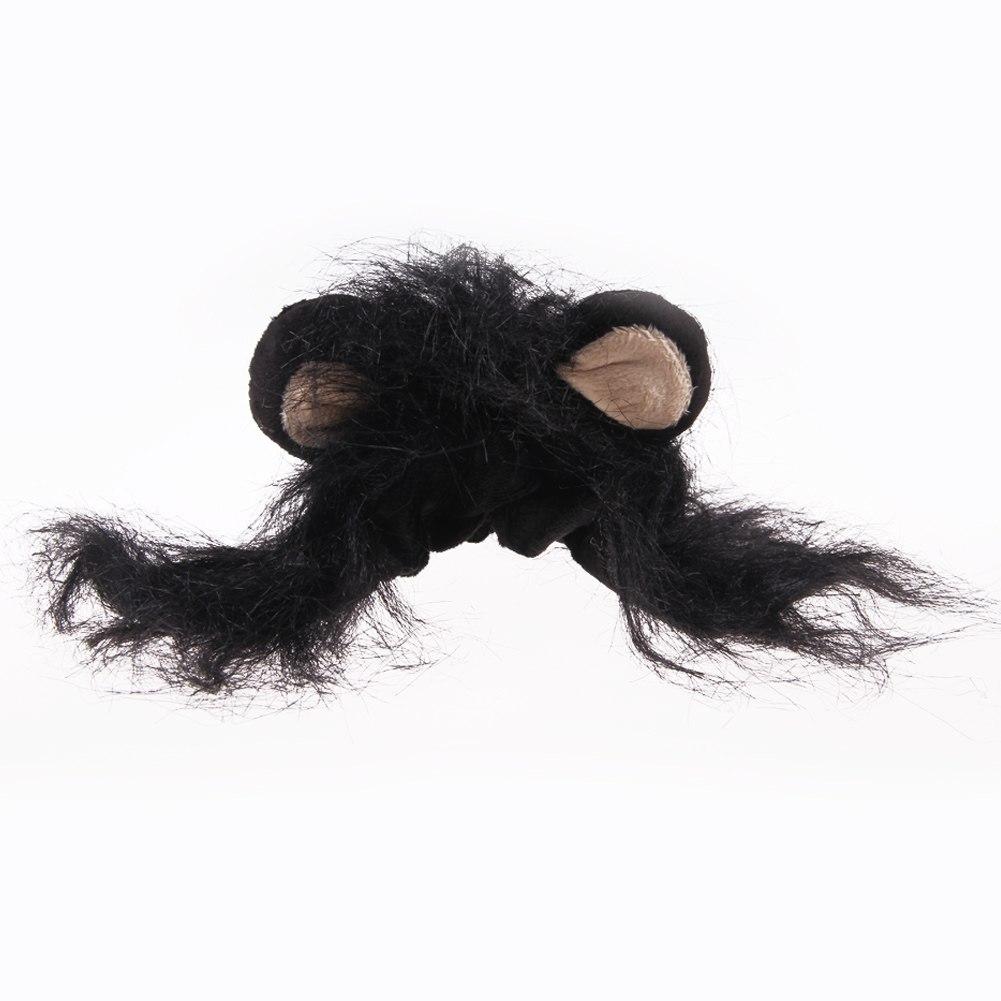 Pet Costume Lion Mane Wig for Dog Cat Halloween Clothes Festival Dress up w/ Ear