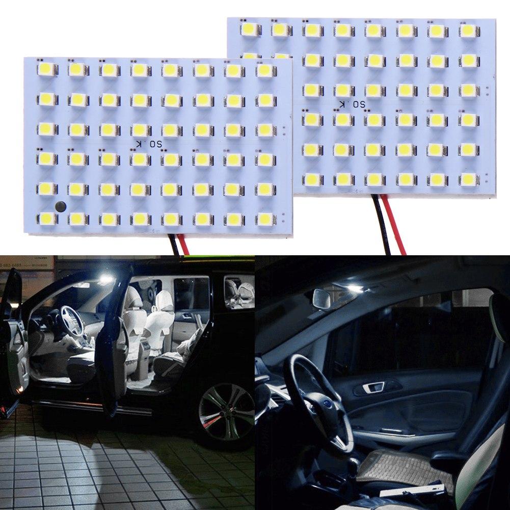 2x 12v car 48 smd white led light panel t10 festoon ba9s. Black Bedroom Furniture Sets. Home Design Ideas
