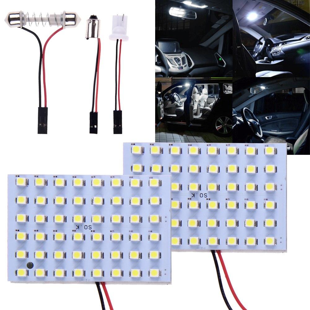 2x car interior light panel 48 smd led t10 ba9s dome festoon bulb adapter 12v ebay. Black Bedroom Furniture Sets. Home Design Ideas
