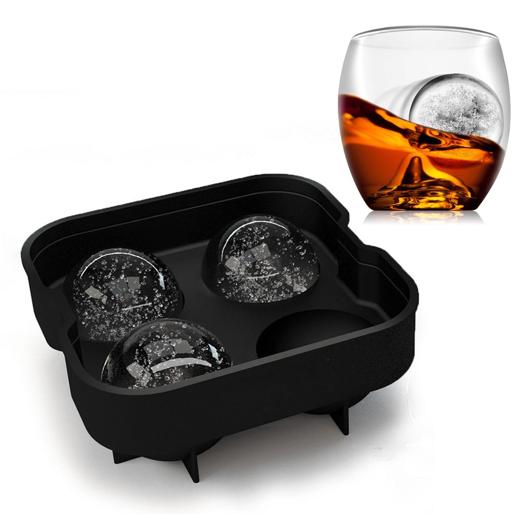 us new round ice balls maker tray four large sphere molds cube whiskey cocktails ebay. Black Bedroom Furniture Sets. Home Design Ideas