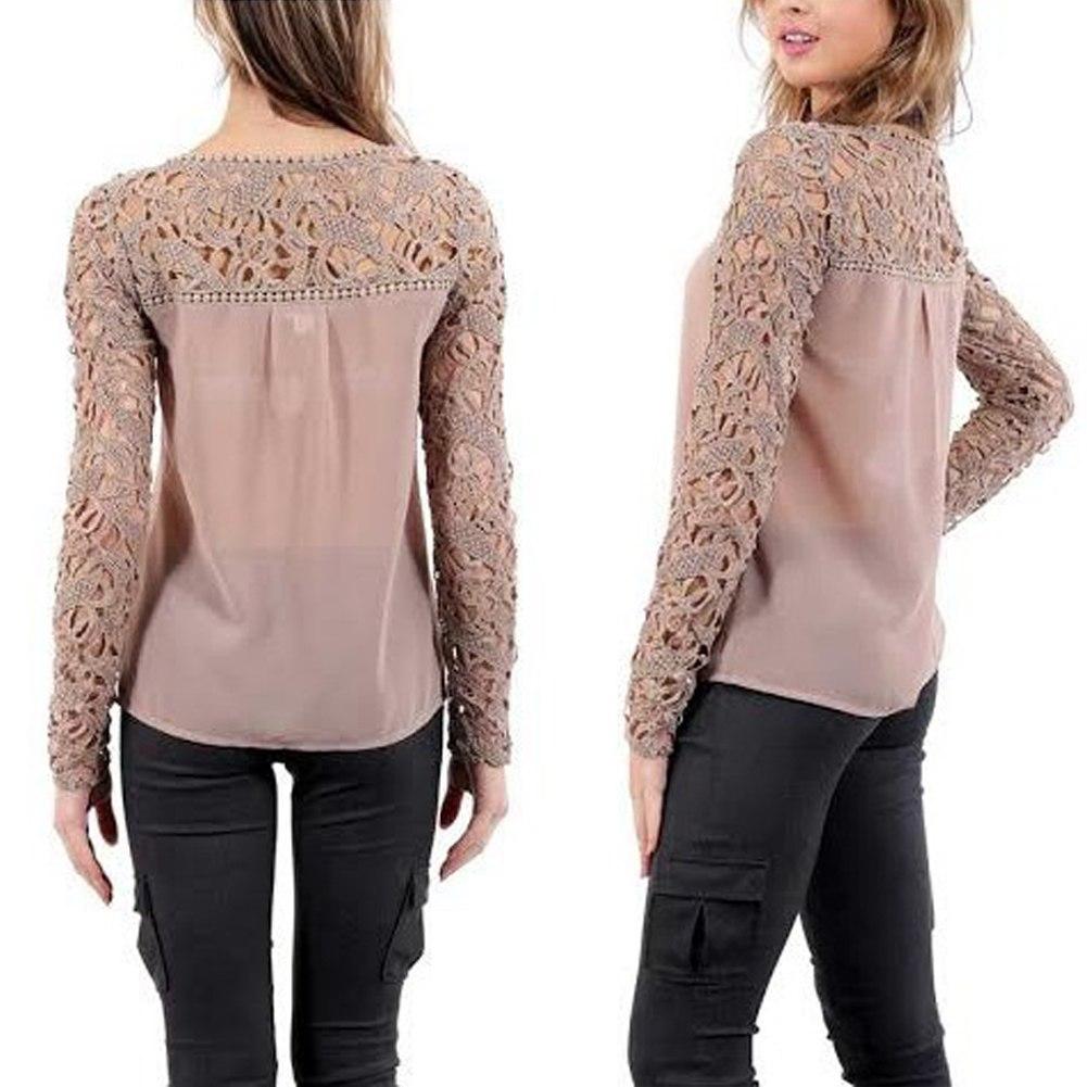 neu damen langarm spitzen lace bluse tunika shirts top. Black Bedroom Furniture Sets. Home Design Ideas