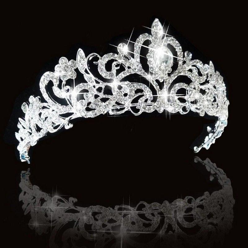 Bridal Princess Austrian Crystal Tiara Wedding Crown Veil