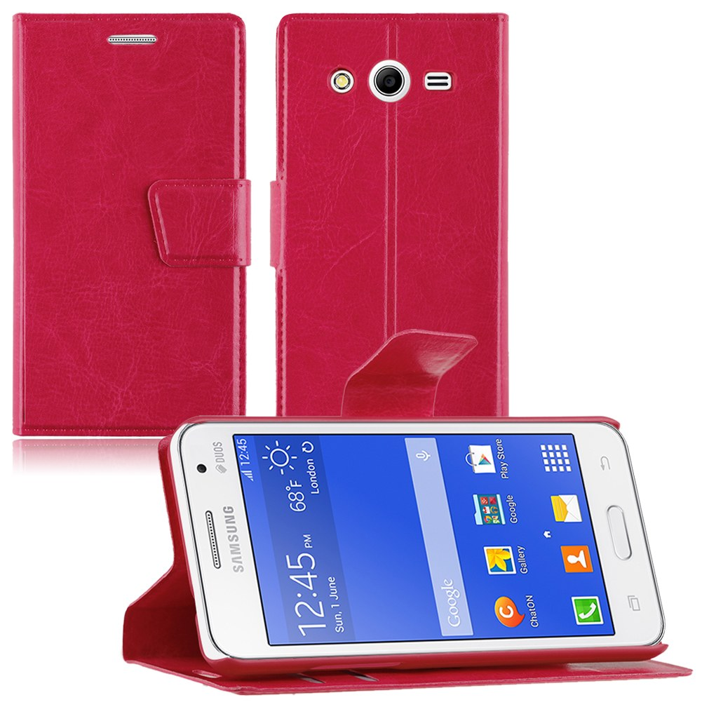 Cover For Samsung Galaxy Core II/2 SM-G355H Folio Leather WALLET Case Stand Skin