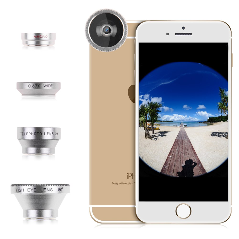 4in1 FishEye+ Wide Angle+Micro+ Telephoto Camera Lens for iPhone 6 6Plus 5 5S 4S