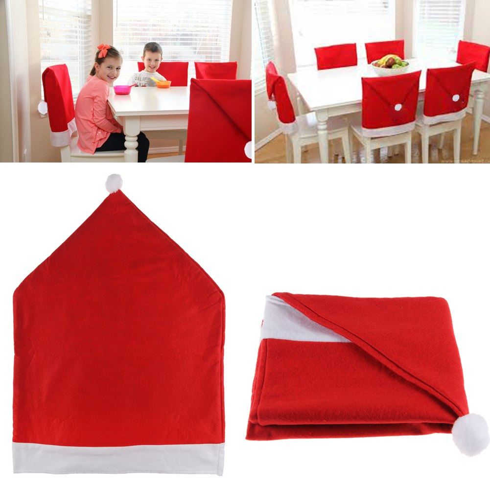 Santa Clause Red Hat Chair Back Covers Christmas Dinner