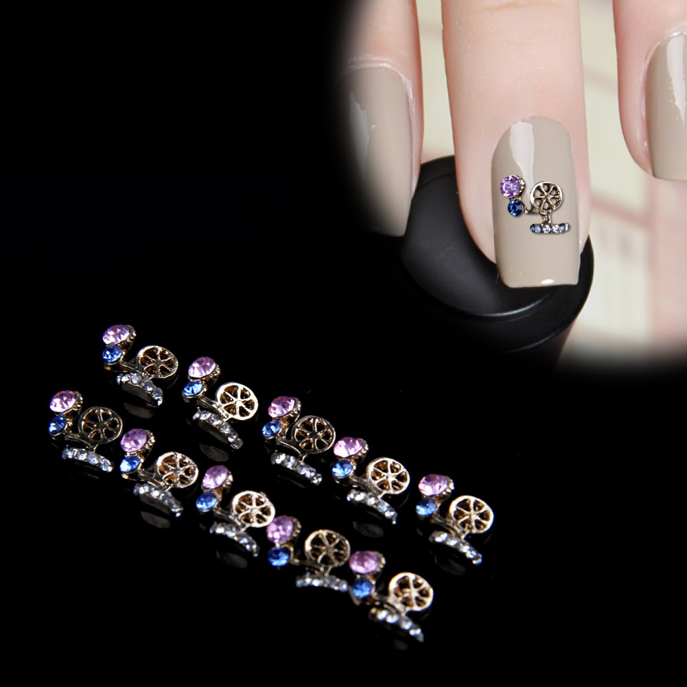 Hot 10pcs 3d rhinestones nail art glitters sticker tips for 3d nail art decoration