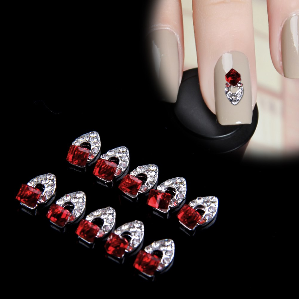 Lot 10 Pcs 3D Fashion Elegant Rhinestone Alloy Nail Art Tips DIY Decoration