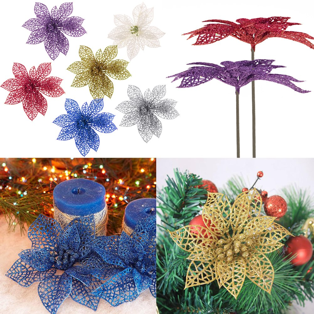 Christmas Tree Decoration With Flowers : Quot christmas flowers xmas tree decorations glitter hollow