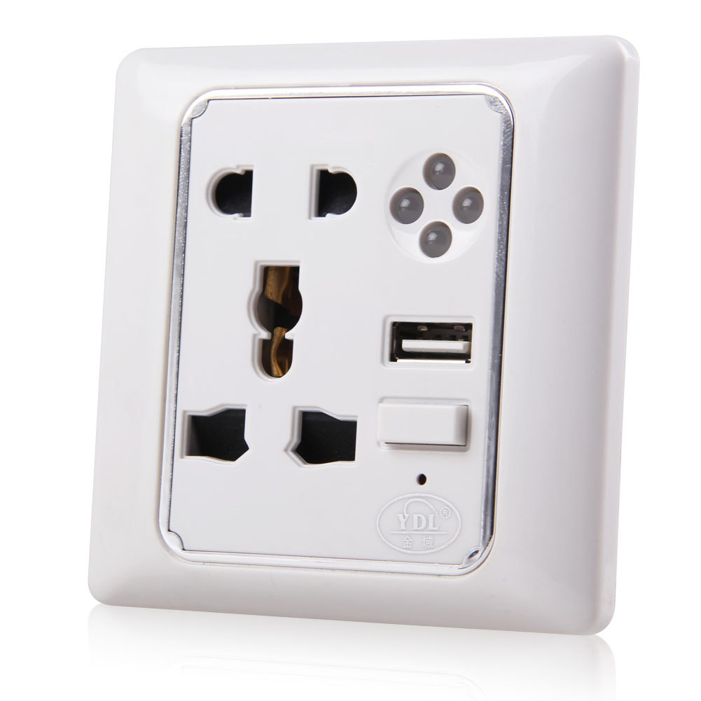 Global Wall Socket Charger Power Supply Outlet Plate Panel+USB Port w/ LED Light eBay
