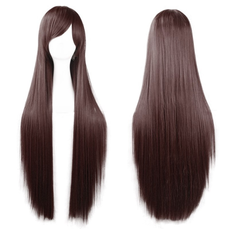 80cm Long Silky Straight Hair Cosplay Wigs Heat Resistant Full Bang Wigs Fashion