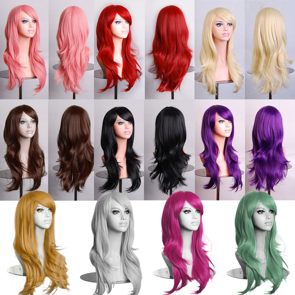 Womens Long Full Wigs Straight Curly Wavy Hair Synthetic Anime Cosplay Wig  eBay
