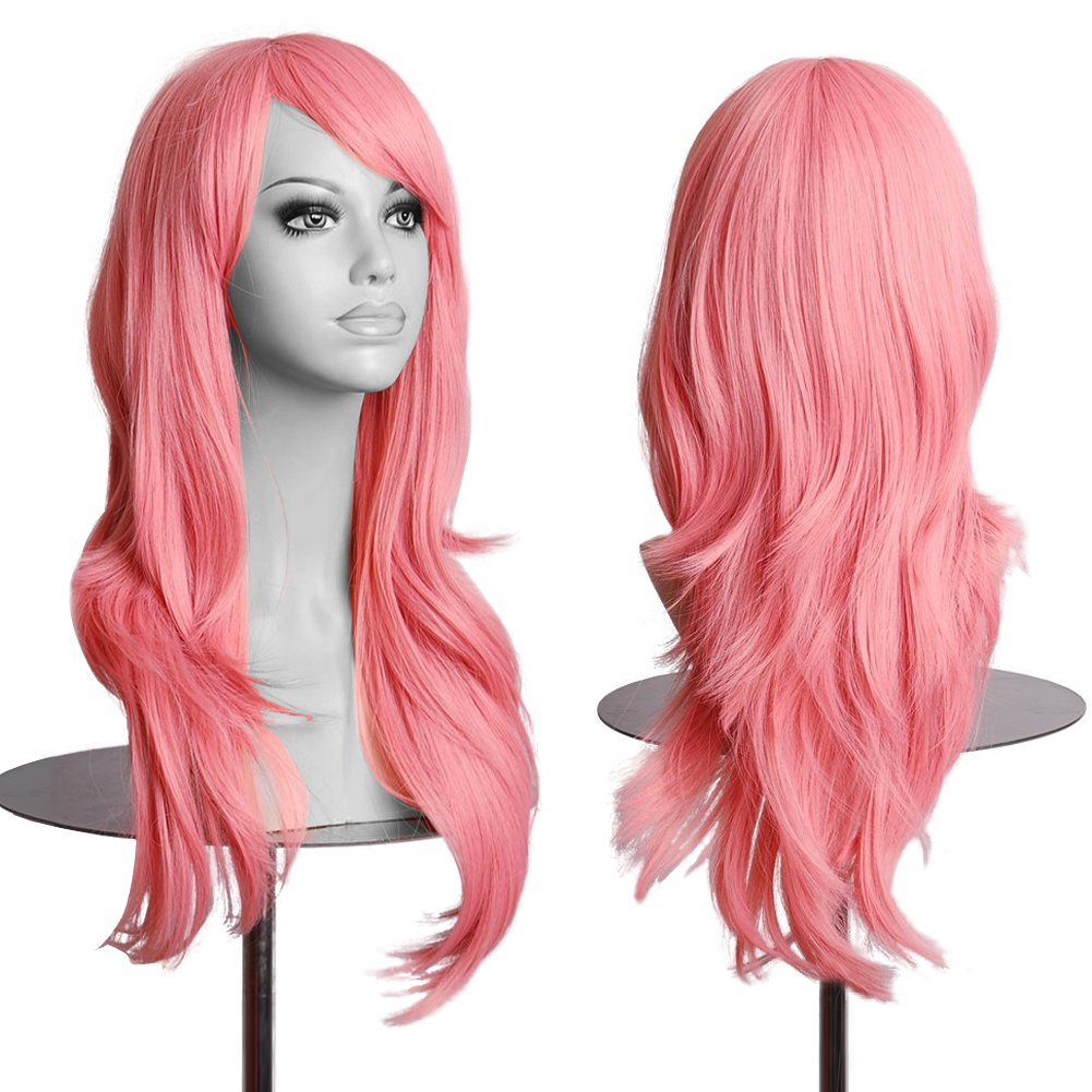 Women Lady Long Hair Wig Curly Wavy Synthetic Anime