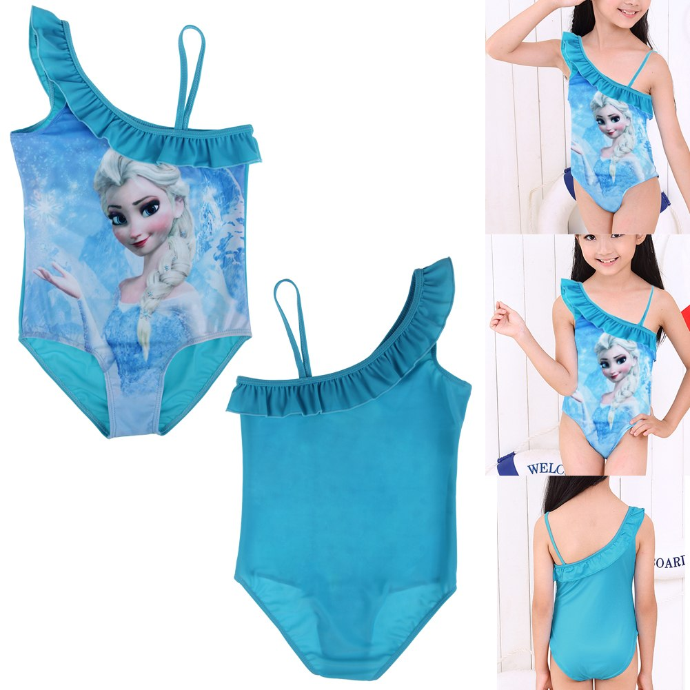 Girls Frozen Queen Elsa Swimwear Swimsuit 2-10Y Kids Bikini ...